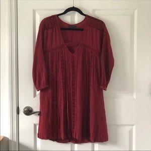 American Eagle AEO Boho Tunic Lace Red Dress XS